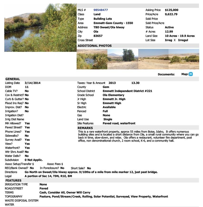 Waterfront Land in Idaho for Sale